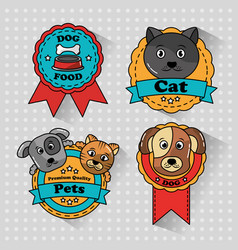 pet cat and dog medal badges icons vector image