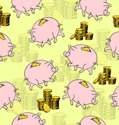 pig piggy bank gold coins seamless vector image