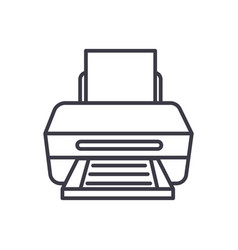 printer with paper line icon sign vector image