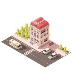 residential house isometric mockup vector image