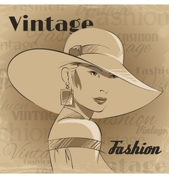 Retro poster of fashion young woman vector image
