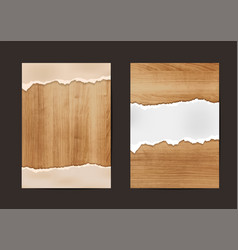 Ripped paper on texture of wood background vector