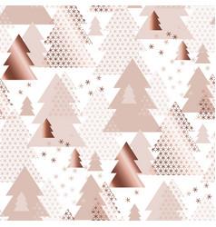 rose gold geometric xmas tree seamless pattern vector image