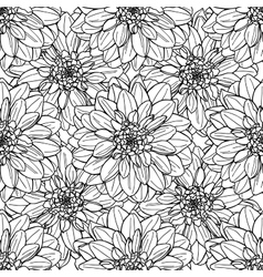 Seamless dahlia flower pattern Line art vector