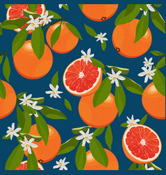 seamless pattern orange fruits with flowers and vector image
