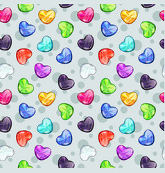 seamless pattern with colorful glossy diamond vector image