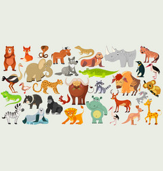 set funny animals birds and reptiles vector image