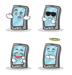 Set smartphone cartoon character collection vector