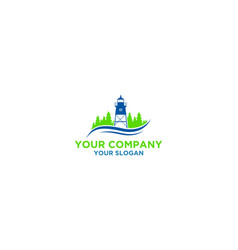 simple lighthouse with pine trees logo design vect vector image