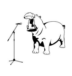Singing hippo vector