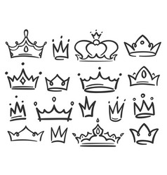 Sketch crown simple graffiti crowning elegant vector