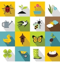 Spring icons set flat style vector