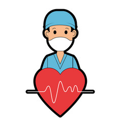 Surgeon doctor with heart avatar character icon vector