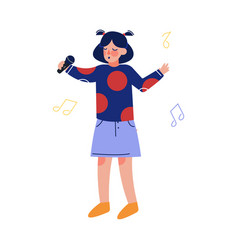 Teen girl singing with microphone talented child vector