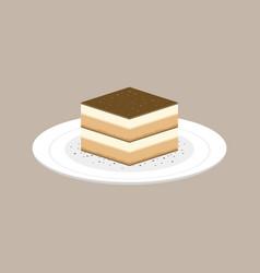 tiramisu cake italian dessert in plate vector image