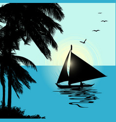 tropical landscape sunset with a boat vector image