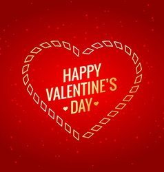 Valentines day with golden heart vector