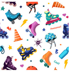 vintage shoes on rollers seamless pattern fun vector image