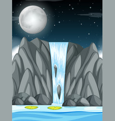 Waterfall at night scene vector