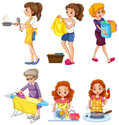 women doing different chores vector image