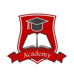 Academy shield emblem icon for university vector image vector image