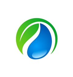 bio green leaf ecology water logo vector image vector image
