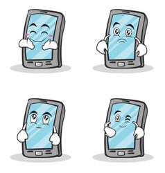 collection smartphone cartoon character set vector image vector image