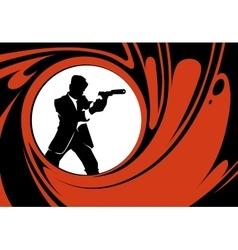 Secret agent or spy silhouette vector image