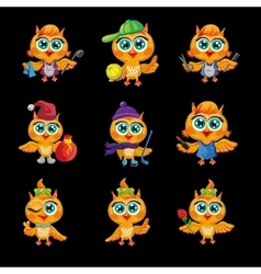 set of cute owls Cartoon characters vector image vector image