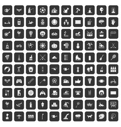 100 kids activity icons set black vector image vector image