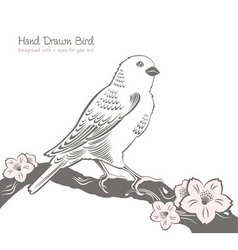 bird on a branch drawing vector image vector image