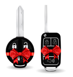 Car key in a decorative wrapping red ribbon bow vector