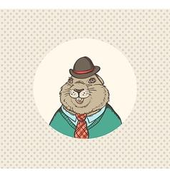 Groundhog hipster vector image