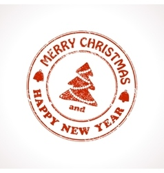 Isolated stamp Christmas greeting vector image