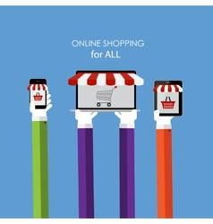 Online Shopping Flat Concept for Web Marketing vector image vector image
