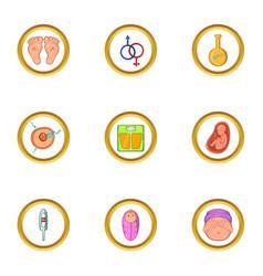 pregnant icon set cartoon style vector image