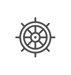 ship steering wheel line icon vector image