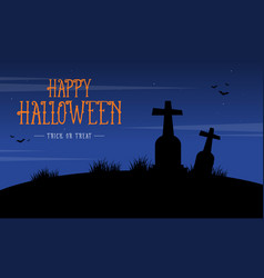 Silhouette of grave scenery for halloween vector