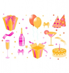 cartoon birthday icons vector image vector image