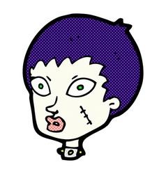 comic cartoon female zombie head vector image vector image
