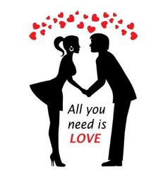 couple in love and hearts vector image vector image