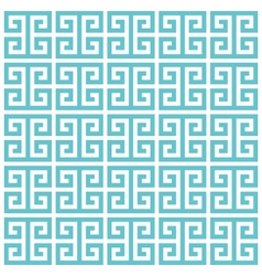 greek key pattern background blue green vector image