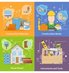 Construction Materials 2x2 Icons Set vector image