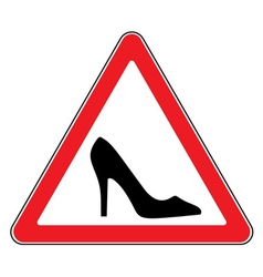 High heel shoes road sign vector image vector image