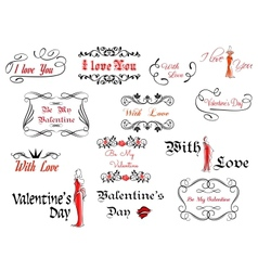 Romantic and Valentines Day headers vector image vector image