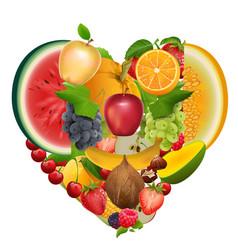 set of fruit shape heart healthy food apple vector image