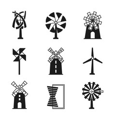 Windmill icons wind turbine and mill black vector