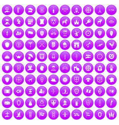 100 shield icons set purple vector