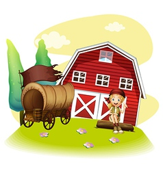 A wagon and a girl in front of the barnhouse vector