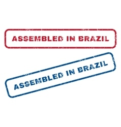 Assembled In Brazil Rubber Stamps vector